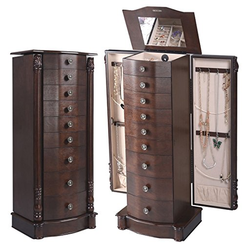 2016 Wood Jewelry Cabinet Armoire Box Storage Chest Stand Organizer - Kenosha In Outlets