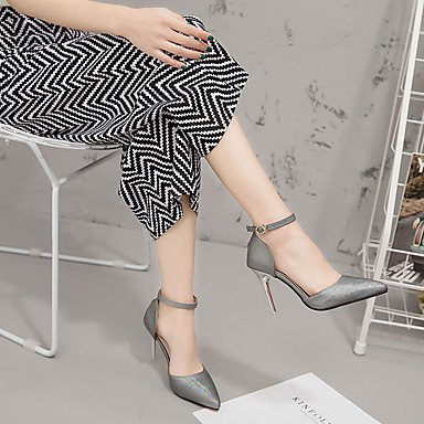 Casual Black Pink 5 US5 Comfort White UK3 Spring Women'sSandals Comfort PU EU36 CN35 Stiletto Walking 3 3in 4in Buckle Blue 3 5 Heel Light OnvtqOx