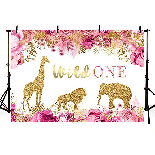 (MEHOFOTO Spring Safari Wild One Theme Pink Floral Photography Backgrounds Girl 1st Birthday Party Decorations Banner Gold Sequin Animals Photo Studio Booth Backdrops)