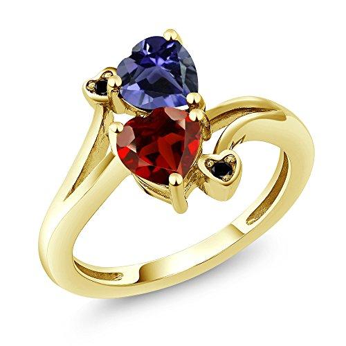 Gem Stone King 1.51 Ct Heart Shape Red Garnet Blue Iolite 10K Yellow Gold Ring (Size 5) ()