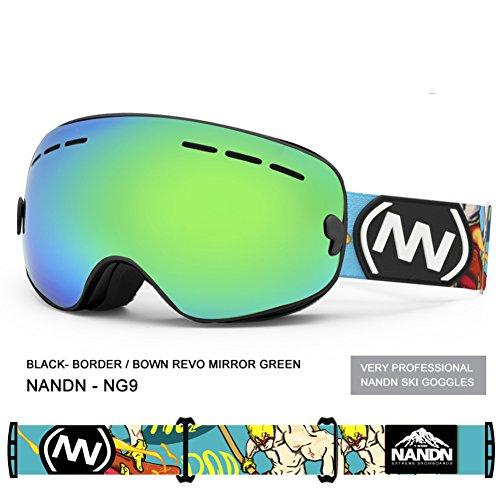 SE7VEN Masques De Ski Enfants,Anti-buée Lentille Double Couche Sphériques Panoramique Snowboard Goggle Leçon De Ski Otg P