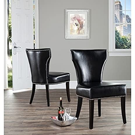 Safavieh Matty Black Leather Nailhead Living And Dining Room Chairs (Set Of  2)