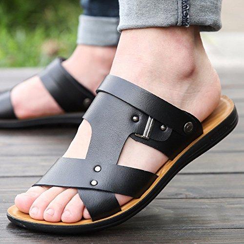 Das neue Männer Freizeit Leder Sandalen Dicker Boden Männer Schuh Sommer Atmungsaktiv Trend Strand Schuh Männer Jugend ,schwarz1,US=10,UK=9.5,EU=44,CN=46