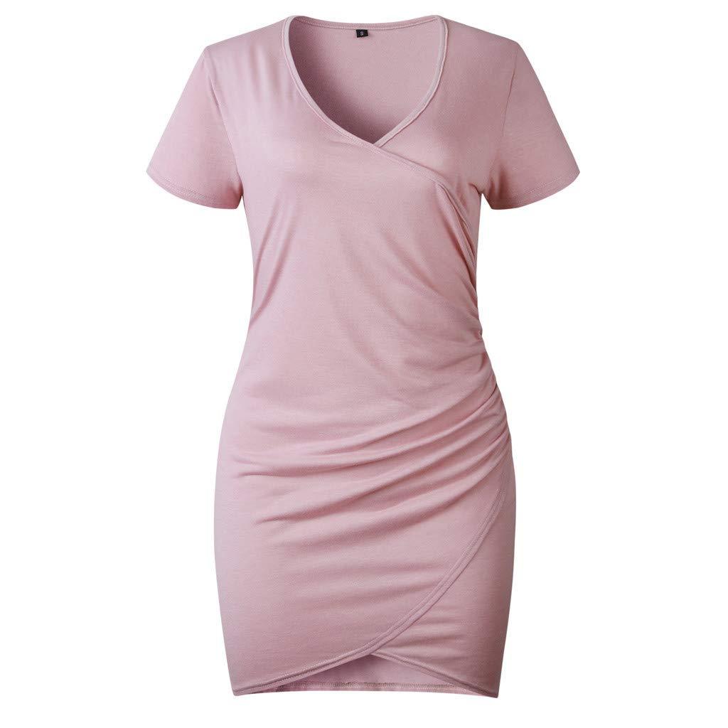 Gaddrt Sommerkleid Minikleid Partykleid Damen Sommer V-Ausschnitt Kurze Ärmel Irregulär Abend