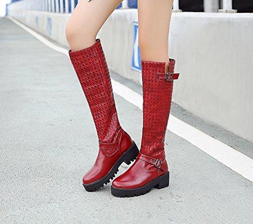 Charm Foot Womens Comfort Fibbia Piattaforma Chunky Stivali Alti Al Ginocchio Vino Rosso