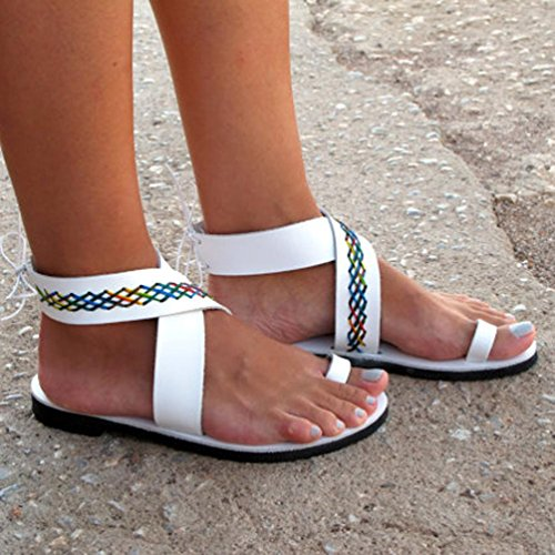 DC Flat Ceinture Shoes Rouges Beautyjourney Tongs Strappy de Plage Gladiator Croix Sandales Blanc Rome Low Tongs Femme Femmes Sandales Confortables Sandales FqYZwp