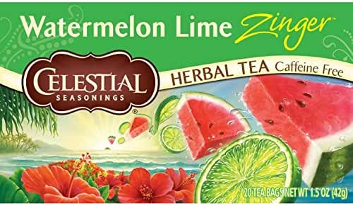 Celestial Seasonings Watermelon Lime Zinger Herbal Tea, 20 Count (Pack of 6)