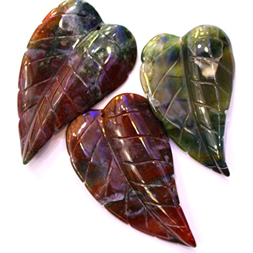 Carved Natural Gemstones Leaf Pendant Loose Beads 4070mm Findings Jewerlry Making (Indian agate) ()