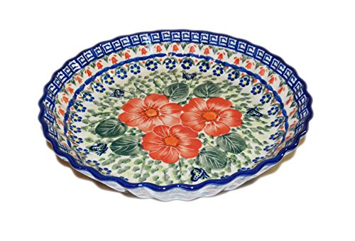 Polish Pottery Ceramic 10 inch Fluted Pie Baking Dish - Hand Made (S181C)
