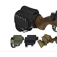 WuuYe Rifle Buttstock, Adjustable Tactical Cheek Rest Pad Ammo Pouch with 7 Shells Holder for Hunting Shooting