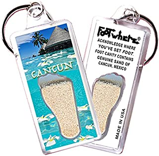 product image for Cancun FootWhere Keychain (CNC106 - Hut). Authentic destination souvenir acknowledging where you've set foot. Genuine soil of featured location encased inside foot cavity. Made in USA.