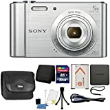 Sony Cyber-shot DSC-W800 20.1MP Digital Camera 5x Zoom Silver 16GB Card Case Accessory Bundle