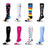 Athletes Foot Home Remedy NEWZILL Men & Women's Compression Socks for Athletic, Nurses, Shin Splints, Maternity & Flight Travel, Hearts - Medium (1 pair)