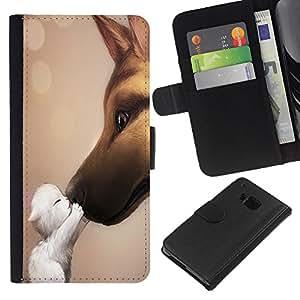 HTC One M9 , la tarjeta de Crédito Slots PU Funda de cuero Monedero caso cubierta de piel ( Cat Dog Friendship Love Cute Sweet Kitten)