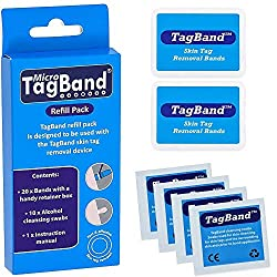 The Micro TagBand refill pack contains 20 micro bands with retainer boxes, 10 plasters and instruction manual. The bands are designed to be used with the Micro TagBand skin tag removal device. They can be used on most body areas and is suitable for u...