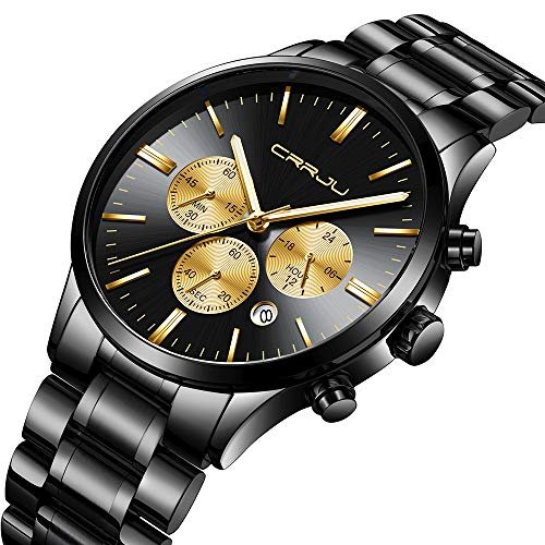 CRRJU Men's Multifunctional Chronograph Wristwatches,Stainsteel Steel Band Waterproof Watch (Black Yellow)