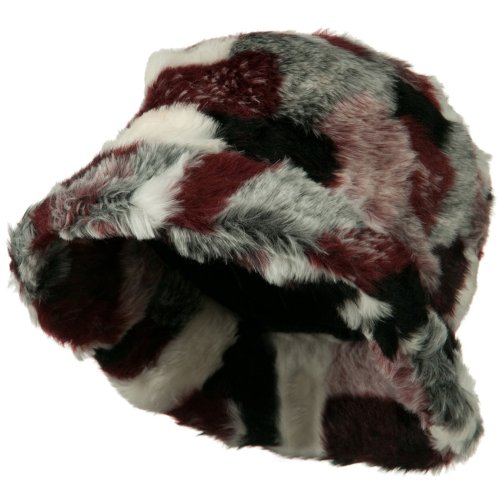 Fur Satin Hat (Faux Fur Patch Pattern Bucket Hat - Red Burgundy OSFM)