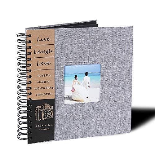 QanCen DIY Scrapbook Photo Album 80 Pages Burlap Cover Album Craft Paper Album, 10 x 10 Inches, with Photo Album Storage Box for Anniversary, Valentines ect!