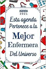 Enfermera AGENDA 2021: Regalo enfermera cumpleaños original , Agenda 2021 Semana vista A5 , 12 meses , una Semana en dos Páginas , Diario Organizador Planificador