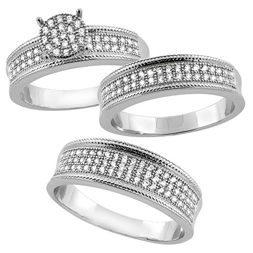 Sterling Silver Micro Pave Cubic Zirconia Trio Wedding Ring Set for 7 (Pave Wedding Ring Sets)