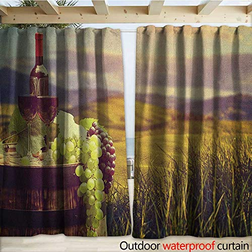 warmfamily Wine Drape for Pergola Italy Tuscany Landscape Rural Vineyard Autumn Harvest Grapes Drink Viticulture W120 x L84 Green Black Brown