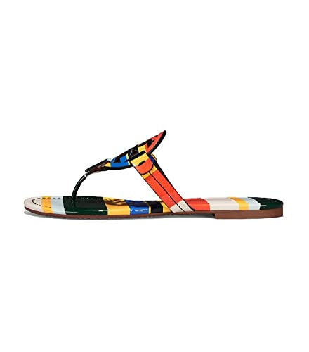 Tory Burch Women's Vachetta Leather Flat Thong Sandals - Miller (5, Balloon  Stripe)