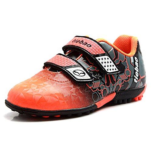 Tiebao Niños Júnior Chicos Guay Múltiples Colores Suelo Duro Bucle de Gancho Zapatos de Fútbol Naranja