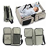 Crib with Mattress and Changing Table 3 in 1 Diaper Bags Portable Crib Changing Station & Travel Bassinet Baby Travel Bed by WXDZ