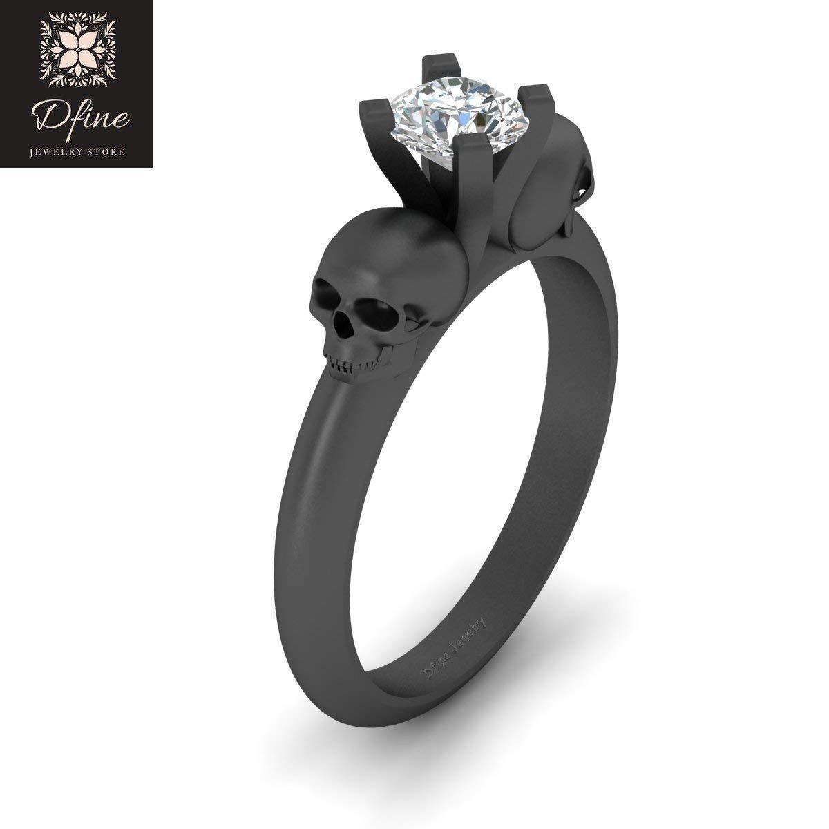 59cf271d294354 Amazon.com: Classic Geeky Gothic Skull Engagement Ring Womens Solitaire Diamond  Skull Ring Gun Metal Fn 925 Silver: Handmade