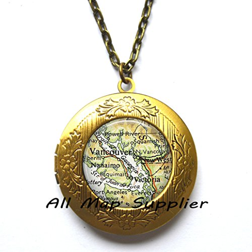 Charming Locket Necklace Vancouver, British Columbia map Locket Necklace, Vancouver map Locket Necklace, Victoria map Locket Pendant, A0089