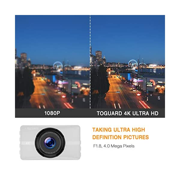 """TOGUARD 4K Dash Cam Ultra HD Car Dash Camera 3"""" LCD 170° Wide Angle Dashboard Camera Recorder with Night Vision, 24Hs Parking Monitor, G-Sensor, Time Lapse"""