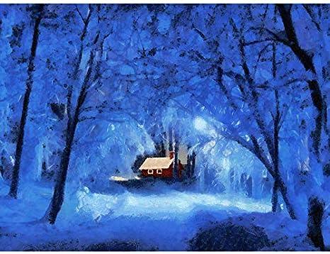 Landscape Painting Winter Snow Forest Cottage Light Blue Poster Print Küche Haushalt