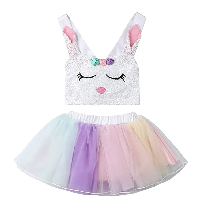 3c169d1b16bd Toddler Kids Easter Outfit Baby Girls Sequin Bunny Crop Top + Tutu Tulle  Skirt Sets: Amazon.ca: Clothing & Accessories
