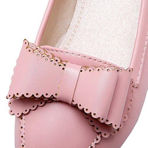 Microfibre Tire à Talon Légeres Rond Couleur Rose Femme Bas Chaussures Unie AalarDom OBq6w6