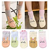 Kidstree Mesh Girls Socks Thin Cotton Toddler Crew Socks 5 Pairs Love Rabbit X-Large (9-12)
