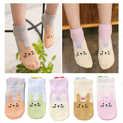 (Kidstree Mesh Girls Socks Thin Cotton Toddler Crew Socks 5 Pairs Love Rabbit Medium (4-6))