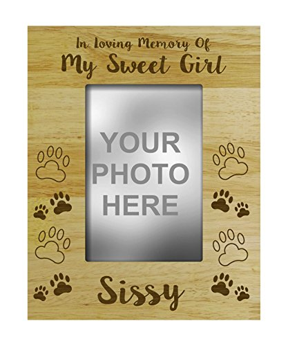 (Darling Souvenir Loss Of A Pet Gift - Personalized Wood Engraved Dog Memorial Picture Frame In Loving Memory Customizable Quote- 5 x 7 Inches)