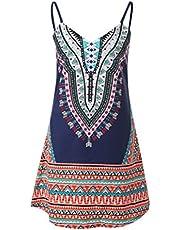 PRETYZOOM Sleeveless Slip Dress Casual Spaghetti Strap Dress Ethnic Beach Swing Dresses Sundress Skirt for Women Girls Summer (Blue Size S)
