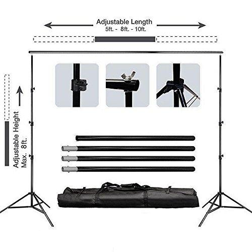 Efavormart 8ft x10ft Height Adjustable Photo Video Studio Crossbar Kit Wedding Photography Backdrop System Stand