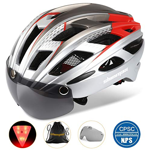 Basecamp Bike Helmet, Cycling Helmet BC-069 CPSC Safety Standard Adjustable Bicycle/Climbing Helmet with Magnetic Visor&LED Safety Back Light&Portable Bag for Adult Youth Men/Women Mountain&Road