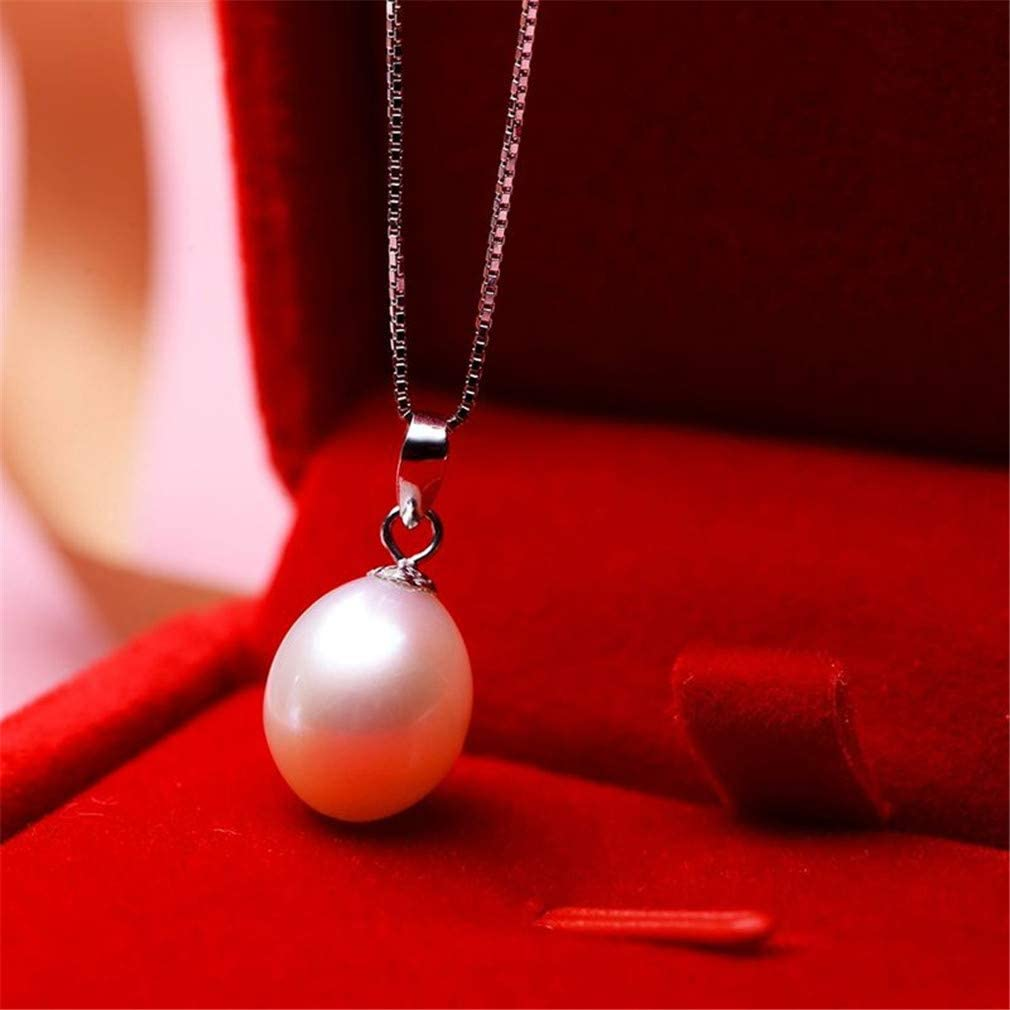 Natural Freshwater Pearl Necklaces /& Pendants Real 925 Sterling Silver Jewelry For Women White 8-9mm 45cm