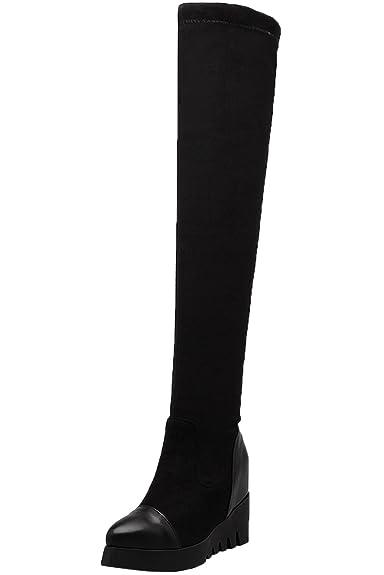BIGTREE Knie Stiefel Damen Plateau Herbst Winter Bequem Reißverschluss Warm Casual Schwarz Lang Stiefel 37 EU 2xtdKiQ