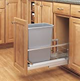 Rev-A-Shelf - 5349-15DM-117 - Single 35 Qt. Pull-Out Brushed Aluminum and Silver Waste Container