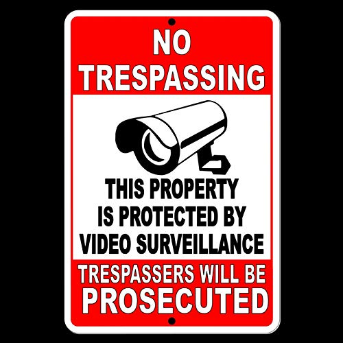 Dozili No Trespassing Property Protected Video Surveillance Security Camera Sign Metal