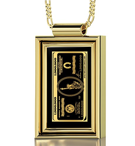 Gold Plated Money Necklace for Men Inscribed with $1,000,000 Bill in 24k Gold onto a Black Onyx Pendant, 20'' Gold Filled Chain by Nano Jewelry