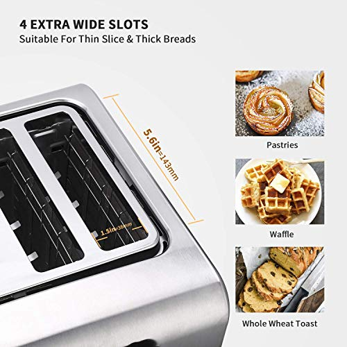 4-Slice Toaster with Reheat, Defrost and Cancel Function, Extra Wide Slots Compact Stainless Steel Toasters with 7 Toast Shade Settings and Removable Crumb Trays, 1500W