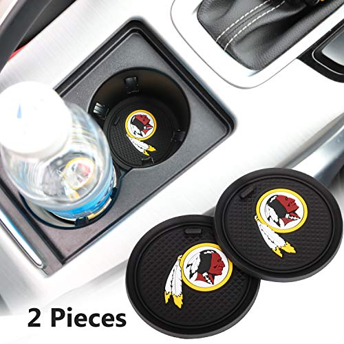 (2 Pack 2.75 inch for Washington Redskins Car Interior Accessories Anti Slip Cup Mat for All Vehicles (Washington Redskins))