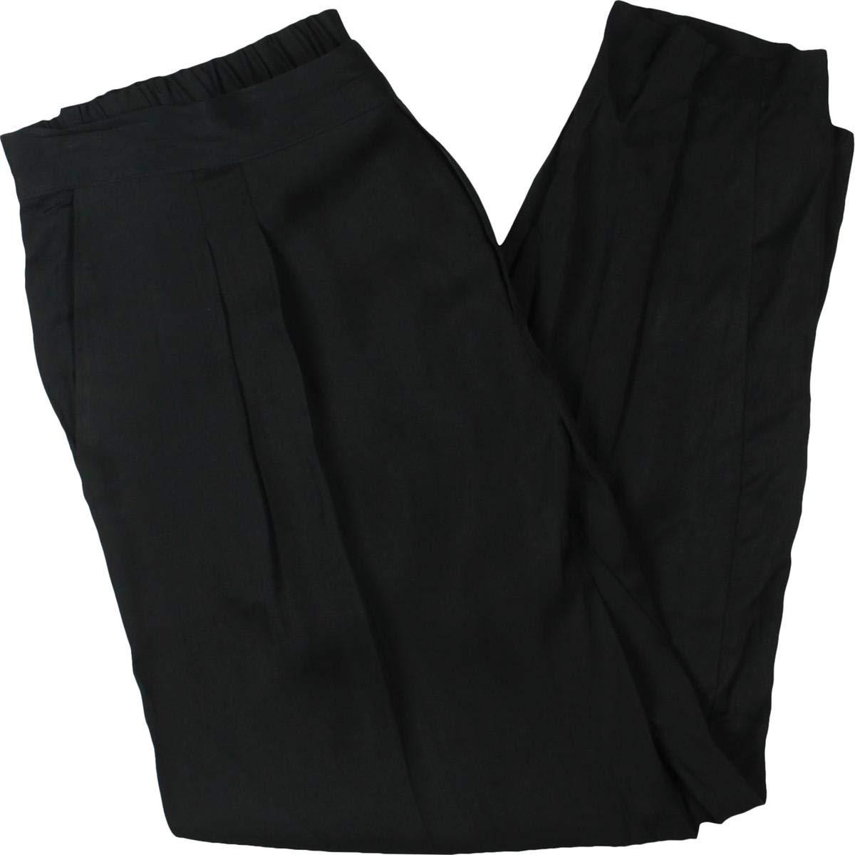 Lauren Ralph Lauren Womens Martiza Satin Pleated Skinny Pants Black 4