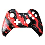 Gam3Gear Hydro Dipped Top Front Housing Shell Case Faceplate Replacement Parts for Xbox One Controller Red Black