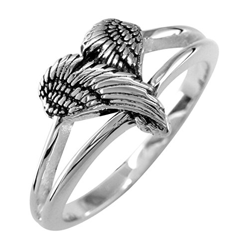 Small Angel Heart Wings Ring with Black, Wings of Love, 12mm in Sterling Silver Size 4.5